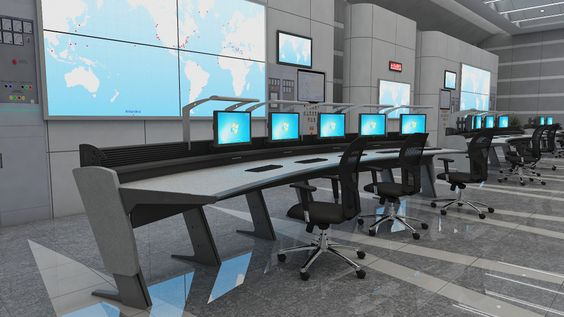 rendering of control room furniture in command center