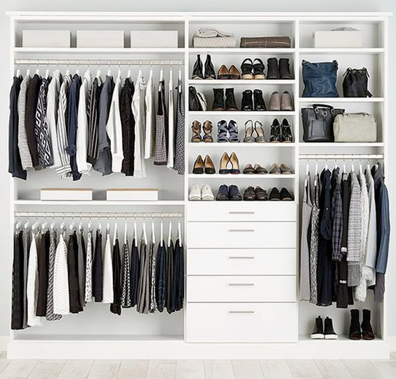 organized closet space with shoes and shirts