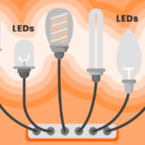 illustration of various led light bulbs plugged into an outlet
