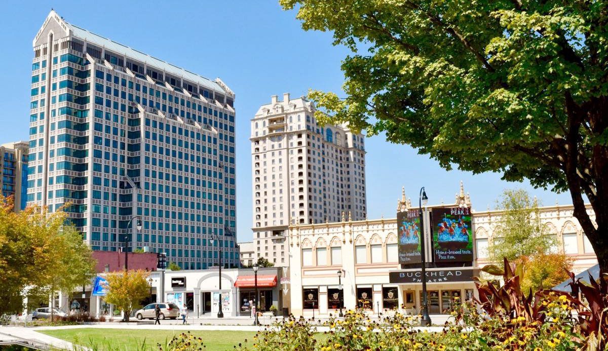 downtown Buckhead Village shopping centers and high-rise condos