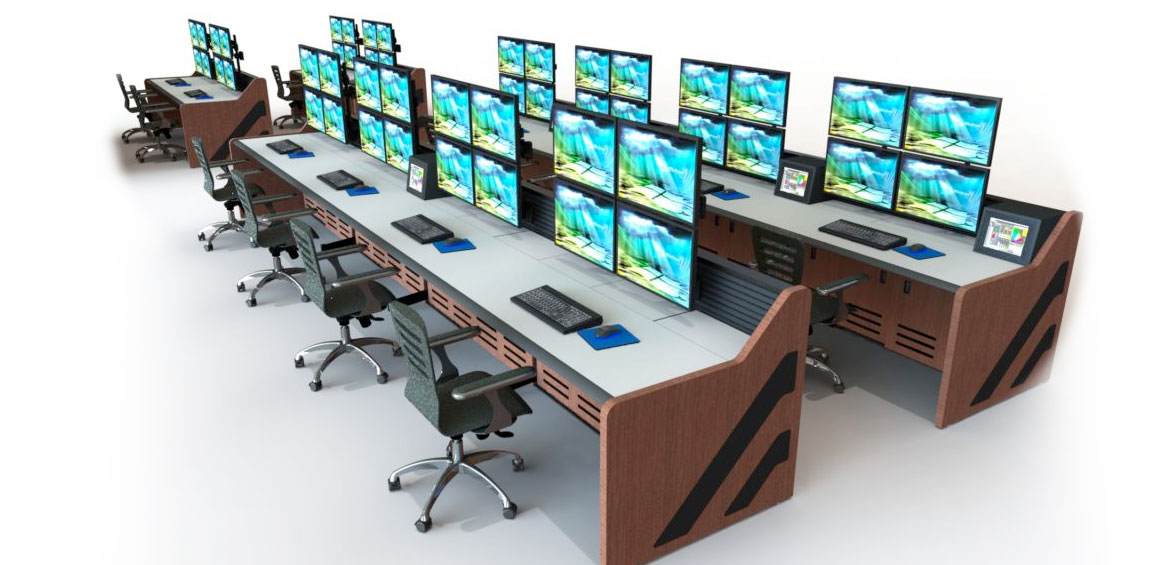 console furniture with multi operator stations, stacked monitors, task chairs, and wood grain side panels